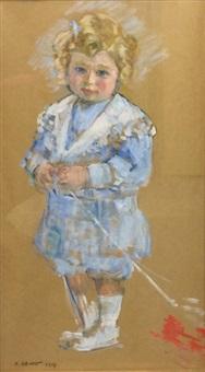 portrait d'enfant en pied by henri lebasque