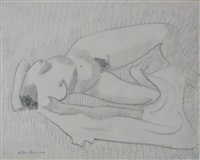 prone nude by milton avery