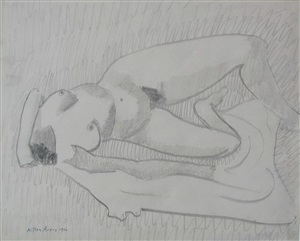 prone nude by milton avery