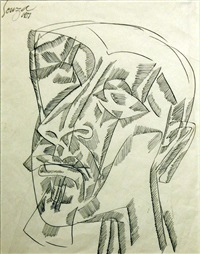 untitled (abstract head) by francis newton souza