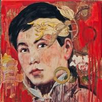 calendar girl (red) by hung liu