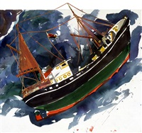trawler in a storm by malcolm morley