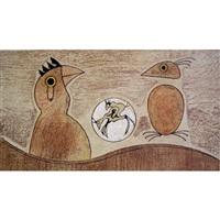 two birds (ochre background) by max ernst