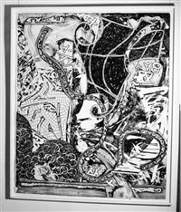 swan engraving v by frank stella
