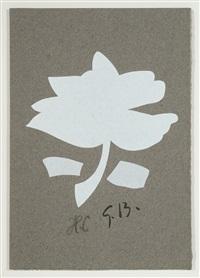 la feuille blanche - fleur blanche sur fond gris by georges braque