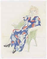 celia in a wicker chair by david hockney