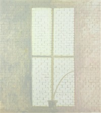 reflected light on brick wall by lois dodd