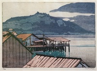 the waterfront, alert bay, british columbia by walter joseph phillips