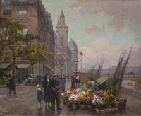 flower market paris, quai de la corse, la conciergerie by edouard léon cortès