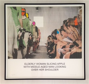the news: elderly woman slicing apple... by john baldessari