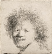 self portrait with long bushy hair by rembrandt van rijn