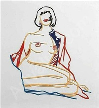 monica sitting undressing by tom wesselmann