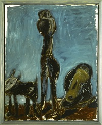 hund, figur und wagner (mann, hund und wagner) by markus lüpertz