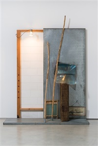 white easel with face by edward and nancy kienholz