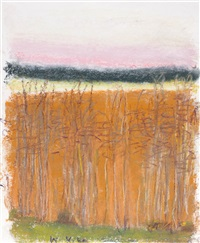 high horizon with pink by wolf kahn