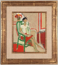 paula sitting in green armchair by françoise gilot