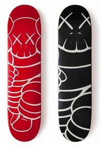 set of 2 skateboard decks by kaws