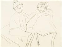 zwei sitzende kinder by ernst ludwig kirchner
