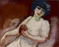 femme rose sur fond rouge by kees van dongen