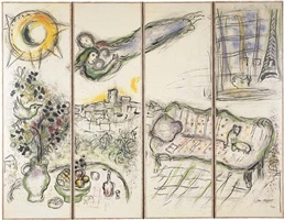 folding screen (paravent) by marc chagall
