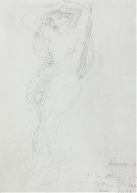 female nude with arms raised posed on a pedestal by auguste rodin
