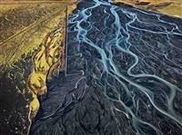 markarfljót river #1, erosion control, iceland by edward burtynsky