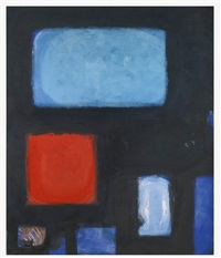 blues & dull vermillion in black by patrick heron