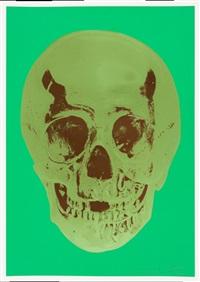 till death do us part - viridian leaf green chocolate skull by damien hirst