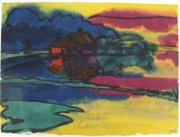 nordfriesische landschaft mit bauernhof / north frisian landscape with farm by emil nolde