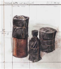 lot 350: wrapped bottle and cans (project) by christo and jeanne-claude