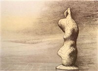 standing figure storm sky by henry moore