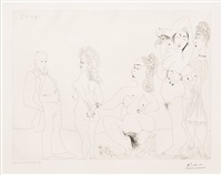 degas chez les filles, premiere apparition de degas, from the 156 series by pablo picasso