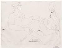 fille au bracelet, avec degas les mains dans le dos, from the 156 series by pablo picasso
