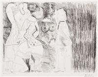 degas imaginant. scene de seduction entre deux filles, avec matrone hypocrite, from the 156 series by pablo picasso