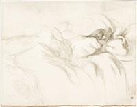 femme couchee, reviel by henri de toulouse-lautrec