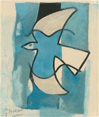 l'oiseau bleu et gris (der blau-graue vogel) by georges braque