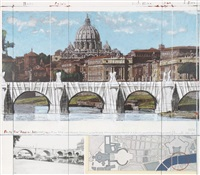 ponte sant' angelo, wrapped (project for rome) by christo and jeanne-claude