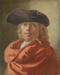 autoportrait au manteau rouge et au tricorne by antoine rivalz