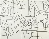 "untitled (black and white variation on ""pochade"") by stuart davis"