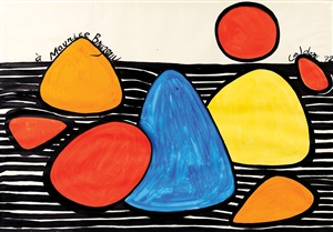untitled (red sun and boulders) by alexander calder