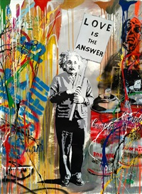 love is the answer (mixed media) albert einstein by mr. brainwash