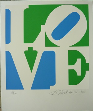 love (blue, green and white) by robert indiana