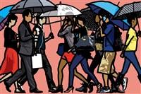 walking in the rain, seoul by julian opie