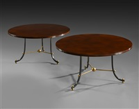 beautiful pair of circular coffee tables / belle paire de guéridons à plateau circulaire by jules and andré leleu