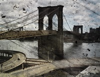 tent-camera image on ground- rooftop view of the brooklyn bridge by abelardo morell
