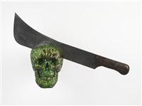 skull with machete ii by jan fabre