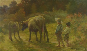 "two boys with cows ""coming home"" by adam emory albright"