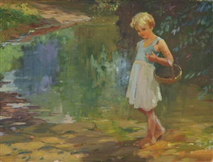 girl in blue dress with basket by adam emory albright