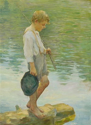 boy standing with fishing pole (adolescent) by adam emory albright