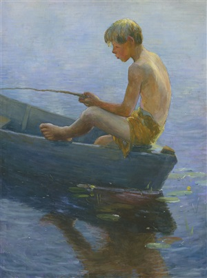 boy sitting in boat (adolescent) by adam emory albright